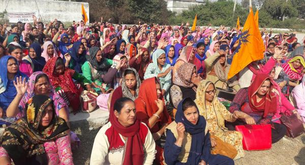 anganwari workers protest against govt