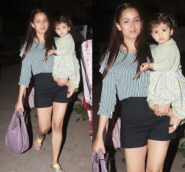 ब्लेक शॉर्ट में बेटी मीशा के साथ घूमते दिखीं मीरा राजपूत, देखिए तस्वीरें