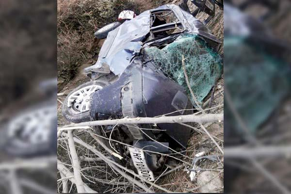 painful incident  3 deaths due to falling car in deep ditch  one injured