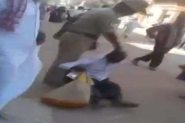 policeman dragged elderly devotee to temple in karnataka