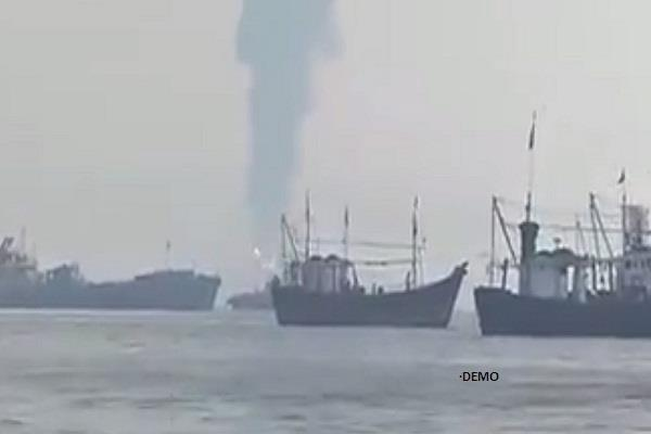 an oil tanker near the coast of gujarat  the crew was rescued