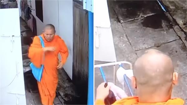 monk caught on camera stealing women s underwear