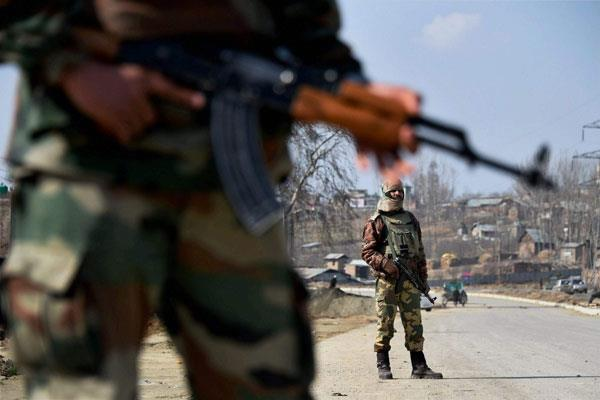 army resorts to aerial firing in karimabad pulwama