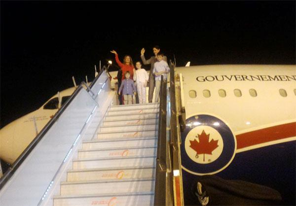 canadian pm arrives on tour with family
