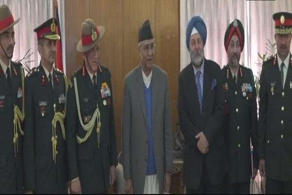 general rawat meets nepalese prime minister president and prime minister