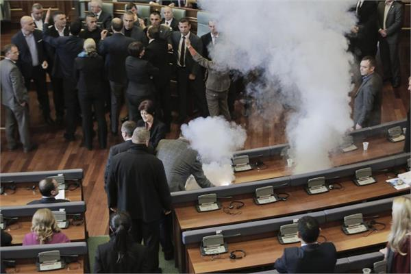 kosovo the organisms in parliament the tear gas shells instead of the debate