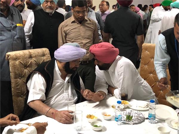 sukhpal khahera seen with lunch with cm amarender singh
