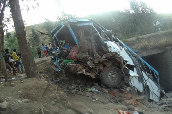 in ethiopia bus falls down from mountain 38 killed