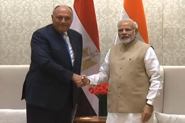 prime minister modi meets egyptian foreign minister