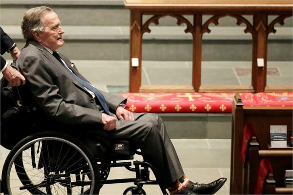former us president bush hospitalized day after wife s death