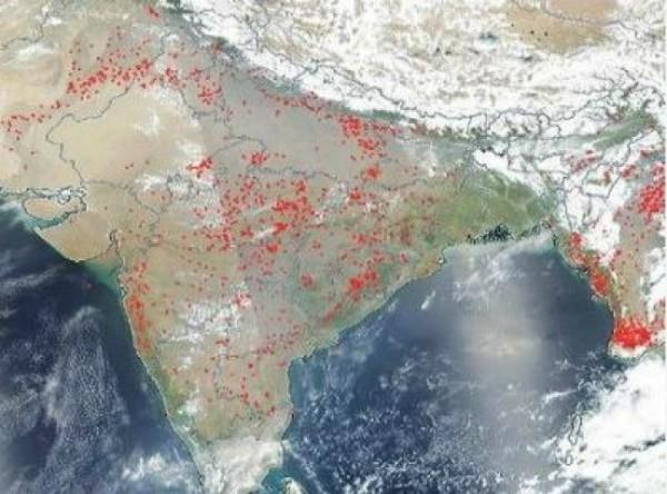 photos released by nasa visible fire in many parts of india
