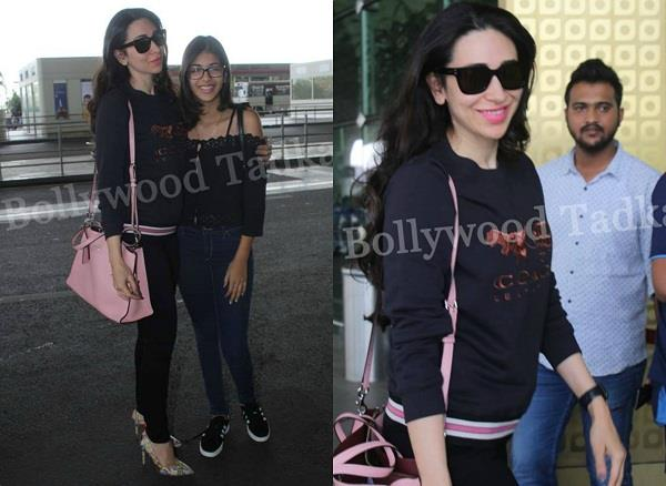 karisma kapoor spotted at airport with daughter samiera