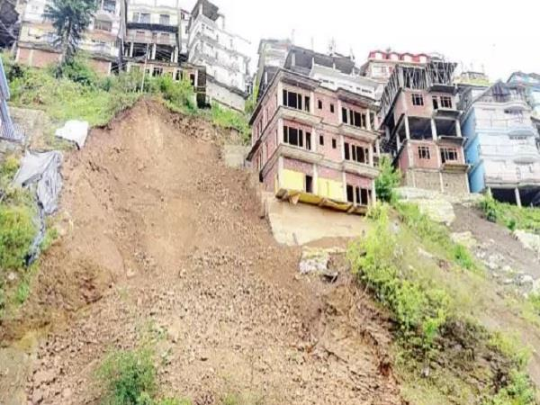 rainfall due to landslides buildings threatening to fall