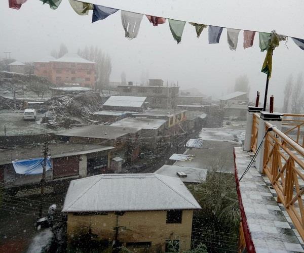 lahaul spiti in keylong snowfall