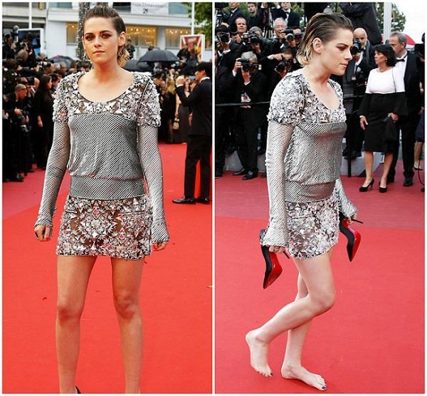 कांस में Kristen ने तोड़ा रूल, रैड कार्पेट पर हील उतार कर चली नंगे पैर!