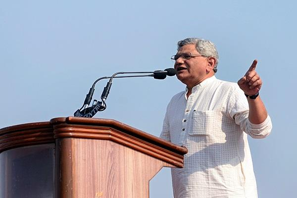 yechury says promotion of doubling the income of farmers is jumla
