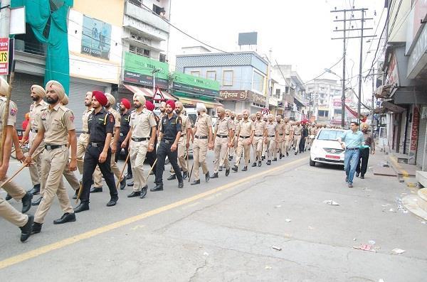struggling situation again in phagwara police march flag march