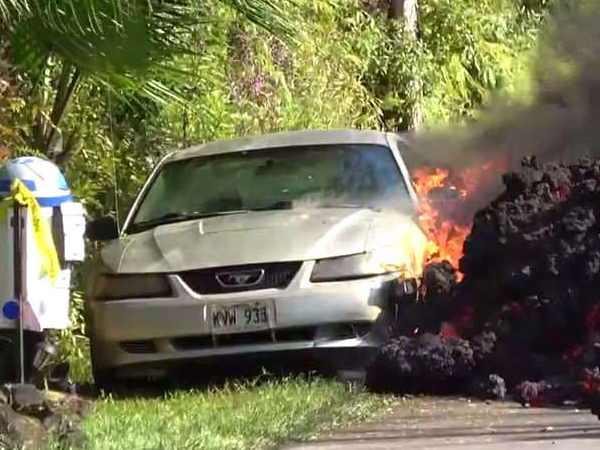 a few seconds after the volcano erupted in the car see video
