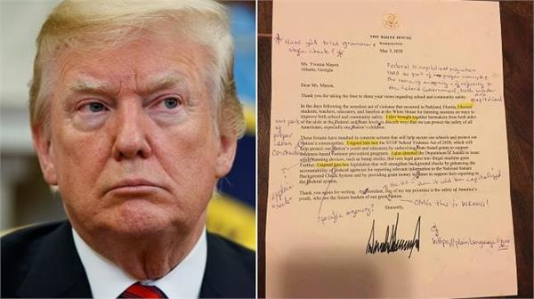 retired english teacher corrects letter from trump