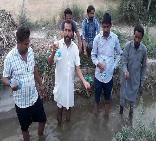 dirty water reached in crop sowing