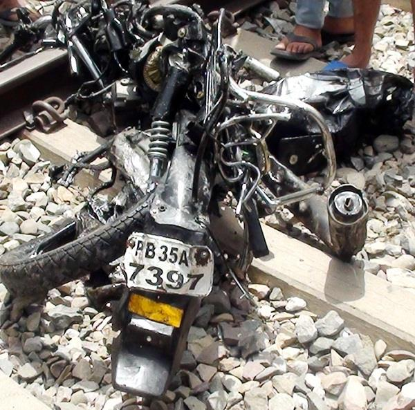 motorcycle collided with a train engine a big accident took place