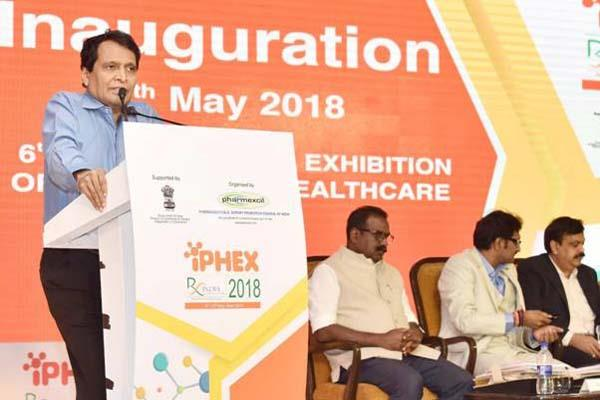 suresh prabhu inaugurates international exhibition of pharma and healthcare