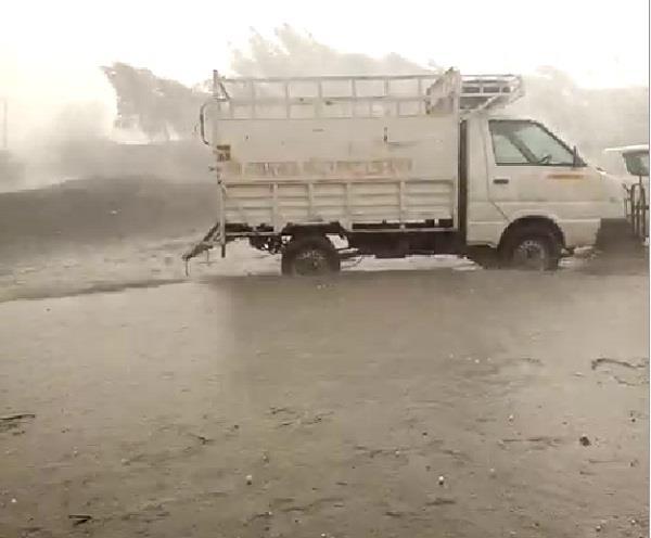 rainfall in grain market bhiwani water mixed hailstorm