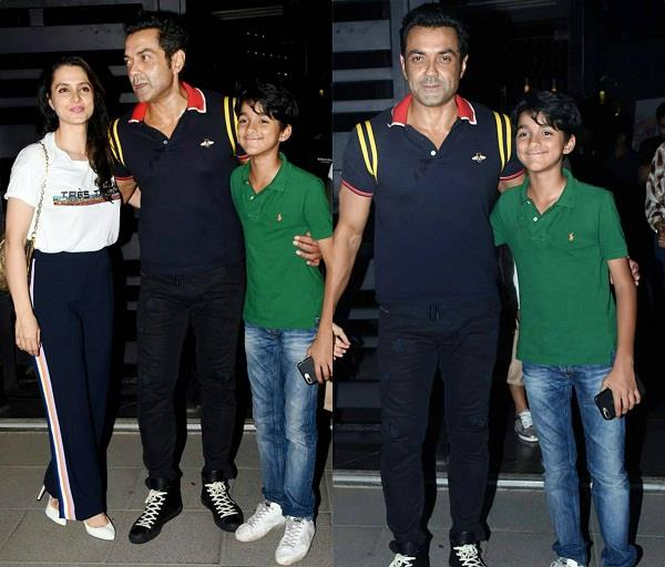 bobby deol spotted with wife tanya and son