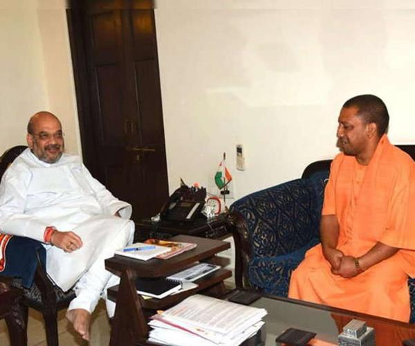 amit shah met with the yogi for the first time after defeat in carana bypoll