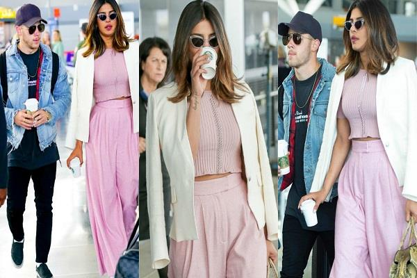 priyanka chopra and nick jonas spotted at new york airport