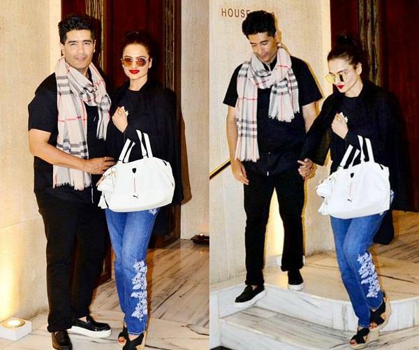 rekha spotted with manish malhotra