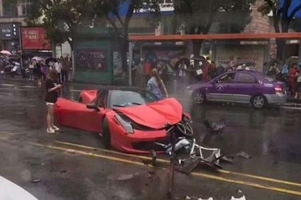 women destroy ferrari just after purchase