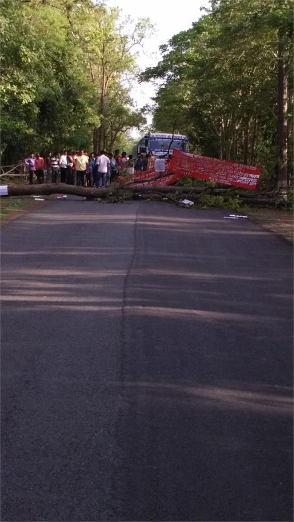 naxalites have demolished the trees and carried the road jam