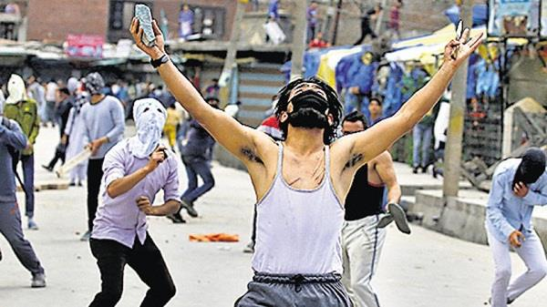in kashmir pro india slogans were raised by youth
