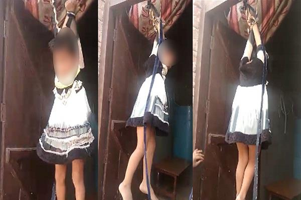 mother beat four year old daughter by hanging on the door