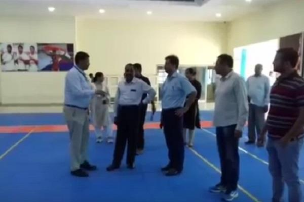 sports arts cultural minister kumar rishi visited the sai center