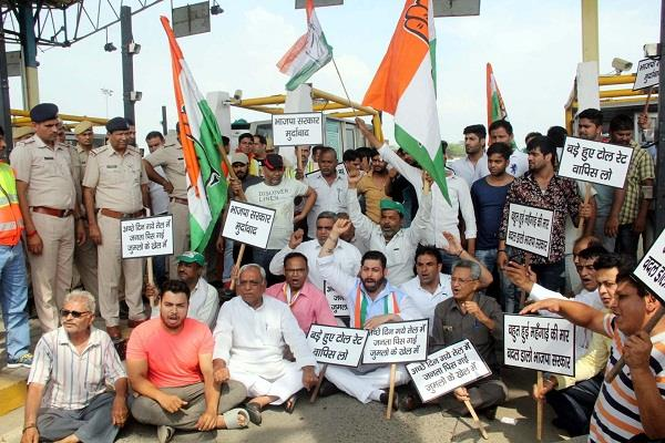 faridabad gurgaum toll rates increase by 25 percent congressmen performed