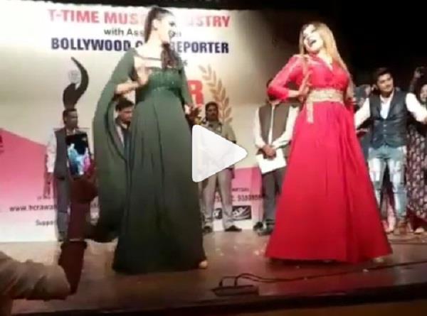 sapna choudhury danced with rakhi sawant video viral