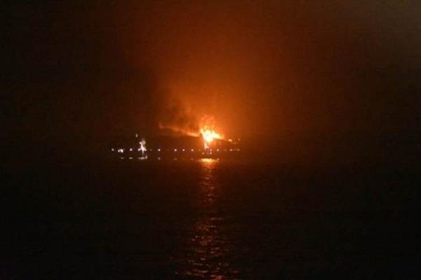 a commercial ship caught fire in the ocean near kochi