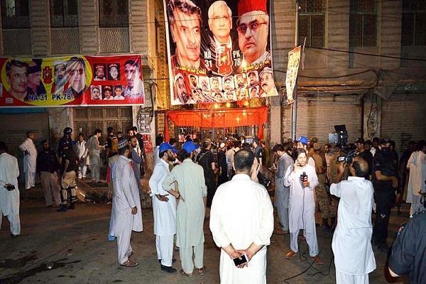 pakistan 20 people killed including anp leader haroon kilowar in peshawar