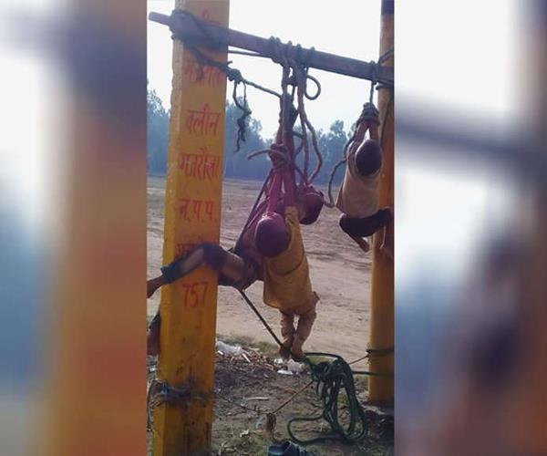 amroha father beaten innocent children by pole in reverse