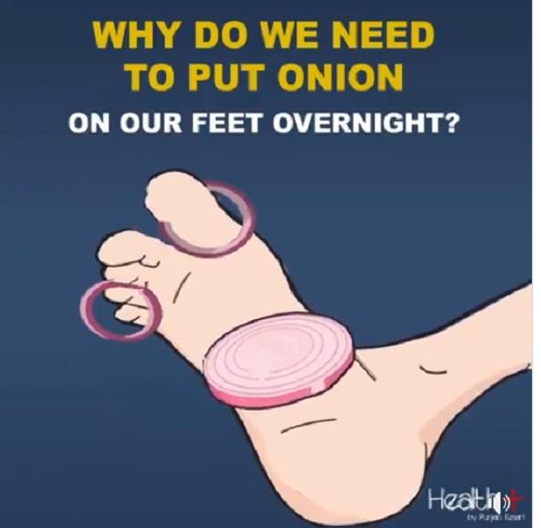 why do we need to put onion on our feet overnight