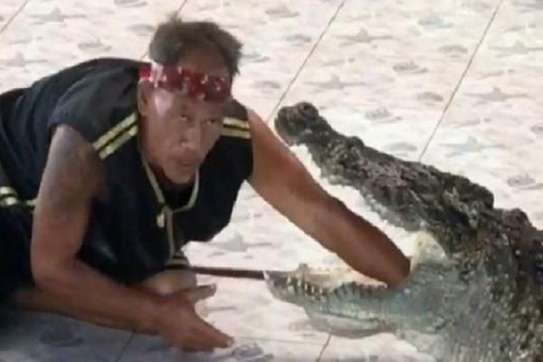 thailand horrifying moment when crocodile bites zoo keeper hand watch video