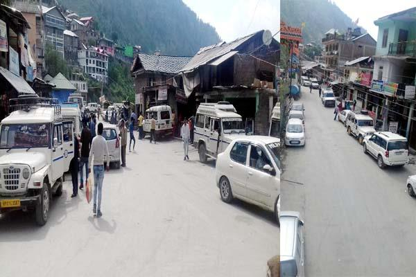 parking problem increased in bharmour vehicles standing on the road