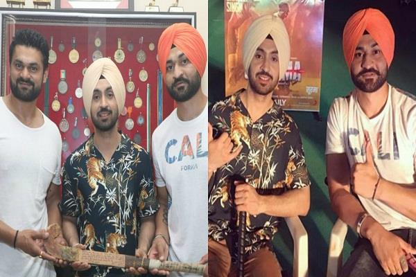 diljit dosanjh and soorma movie team visit sandeep singh home town