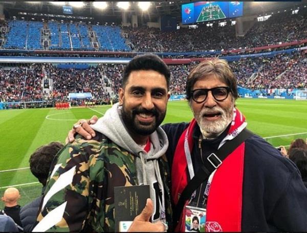 abhishek bachchan and amitabh bachchan enjoy fifa world cup 2018 semifinal