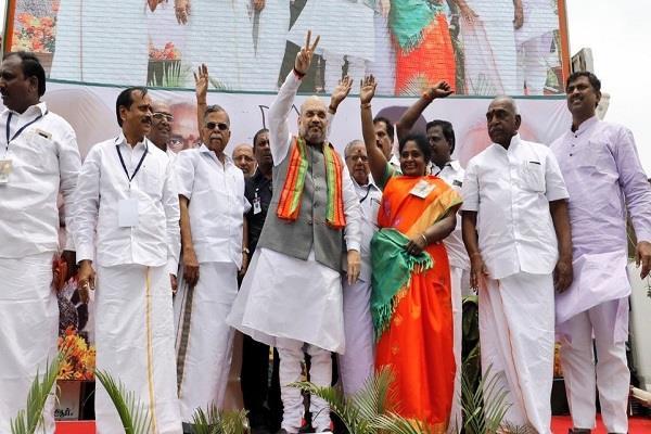 amit shah arrives in tamil nadu