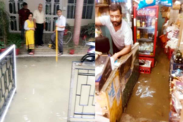 drainage block in kangra raining water entered in homes and shops