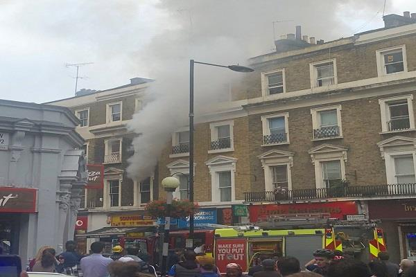 a fire in a four storey building in london