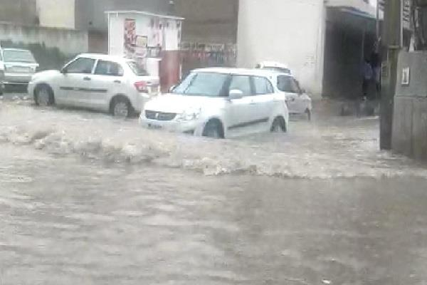 cyber city submerged after torrential rain